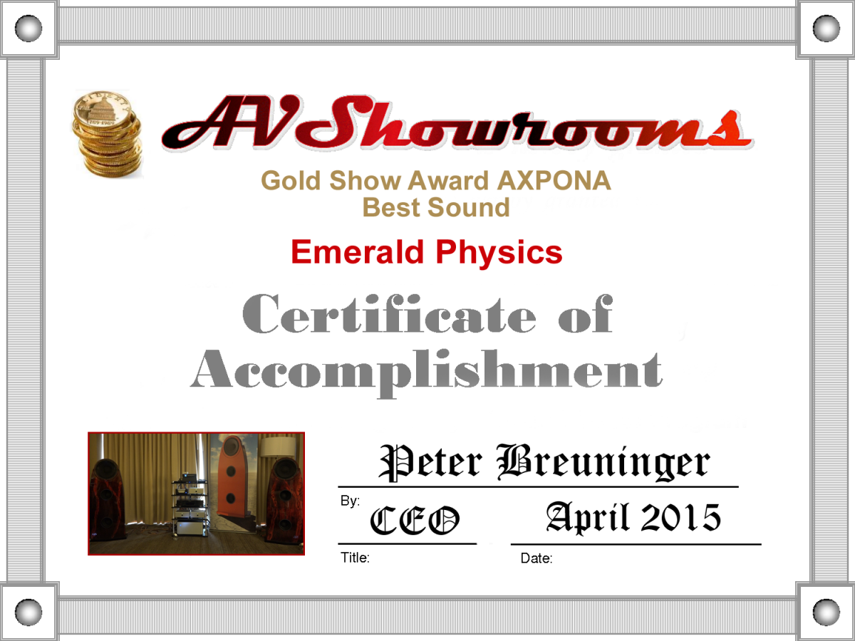 Emerald Physics Certificate of Accomplishment